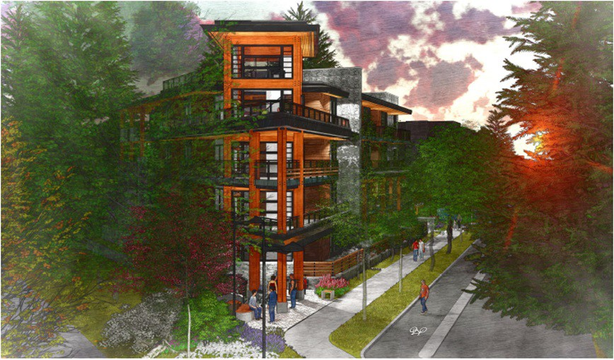 Render of proposed development at 1149-1155 Lynn Valley Rd