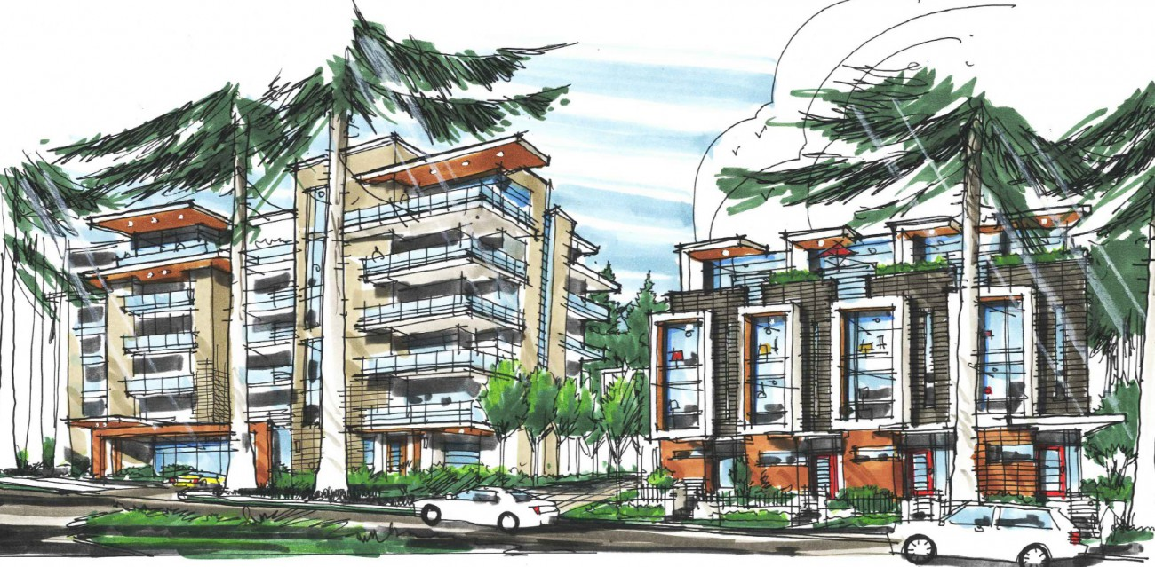 Rendering of a proposed development at 1923-1959 Purcell Way