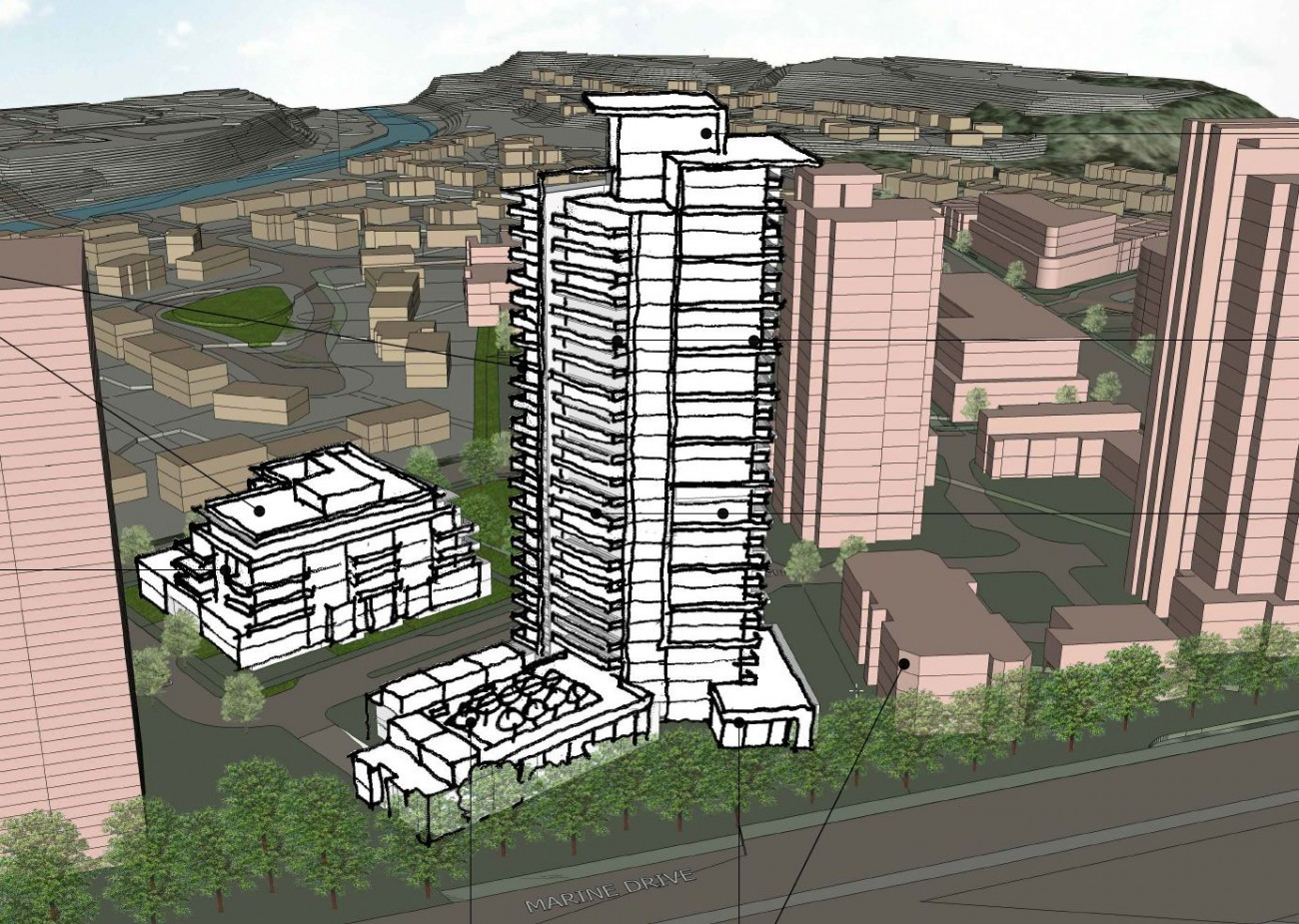 Sketch of a proposed development at 2050-2070 Marine Drive (Travelodge site)