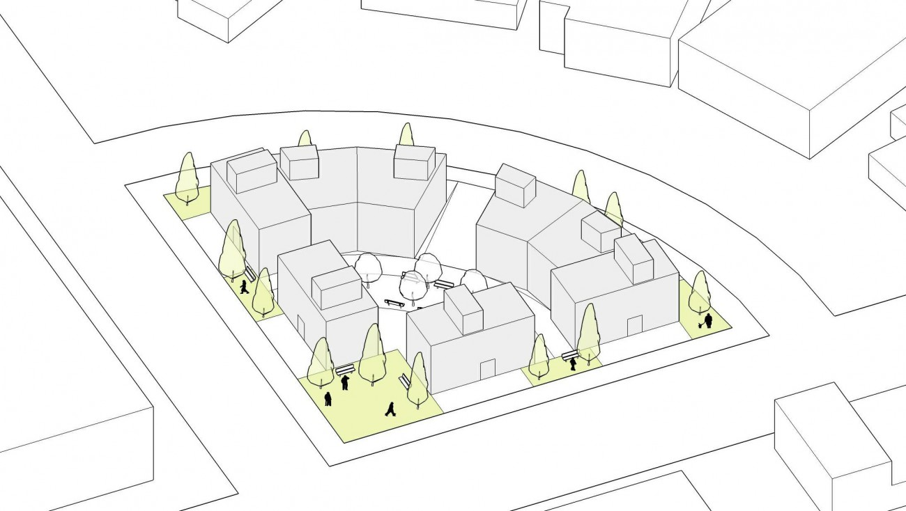 Sketch of a proposed townhouse development in Edgemont Village