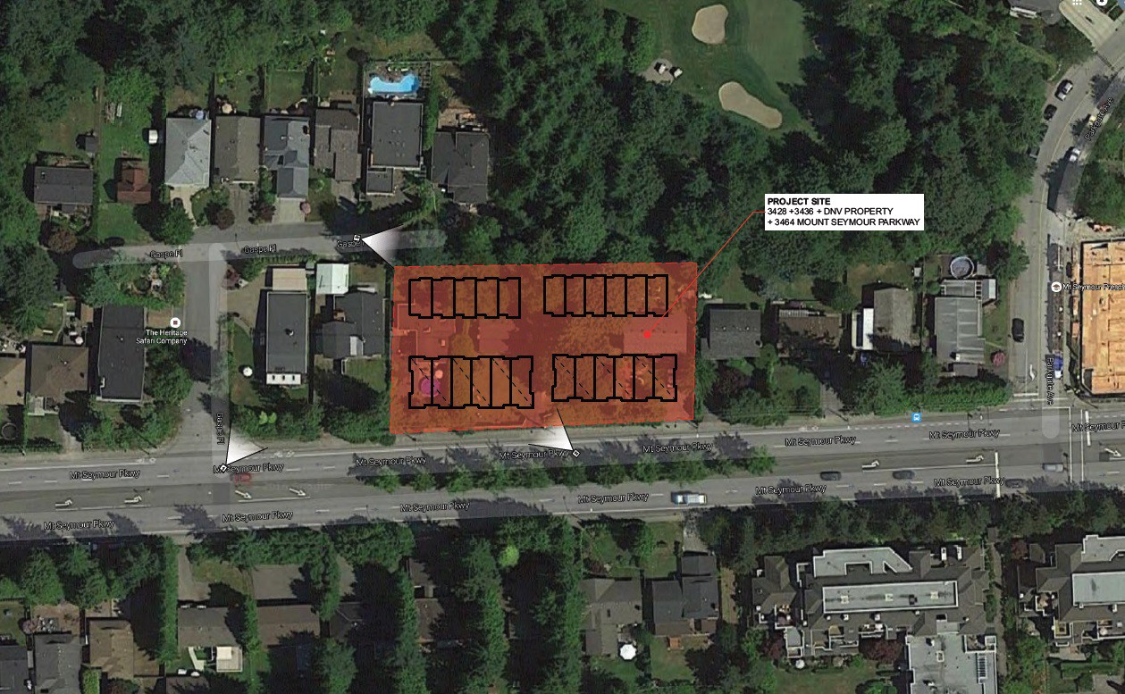 Sitemap of a proposed development at 3428 Mt Seymour Parkway
