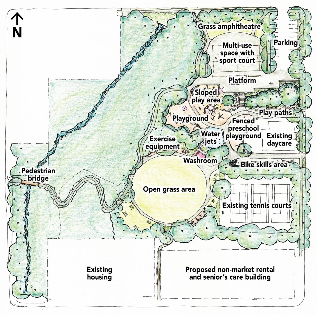 Proposed plan for new park on the old Delbrook Lands