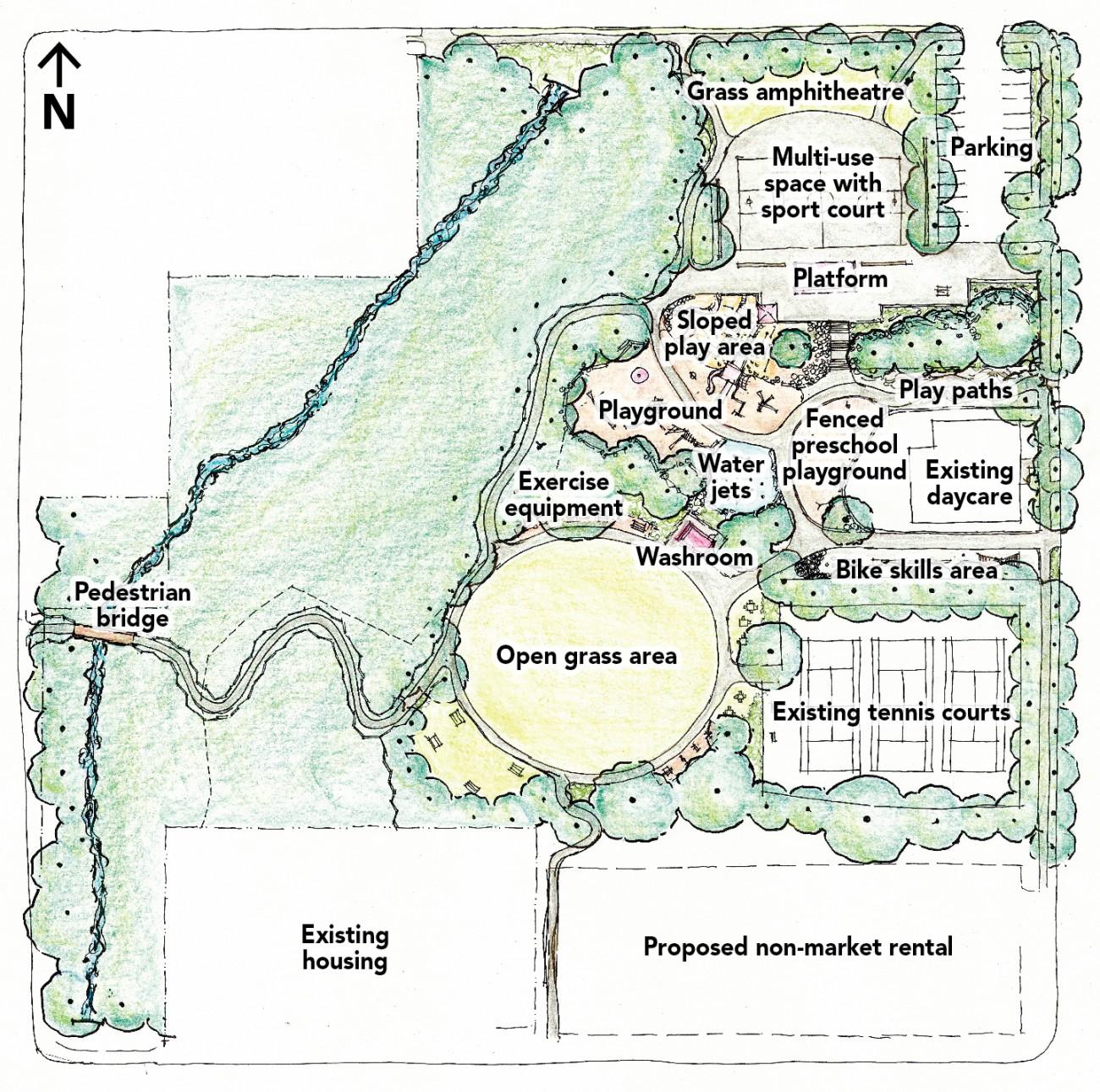 A conceptual drawing of Delbrook Park.