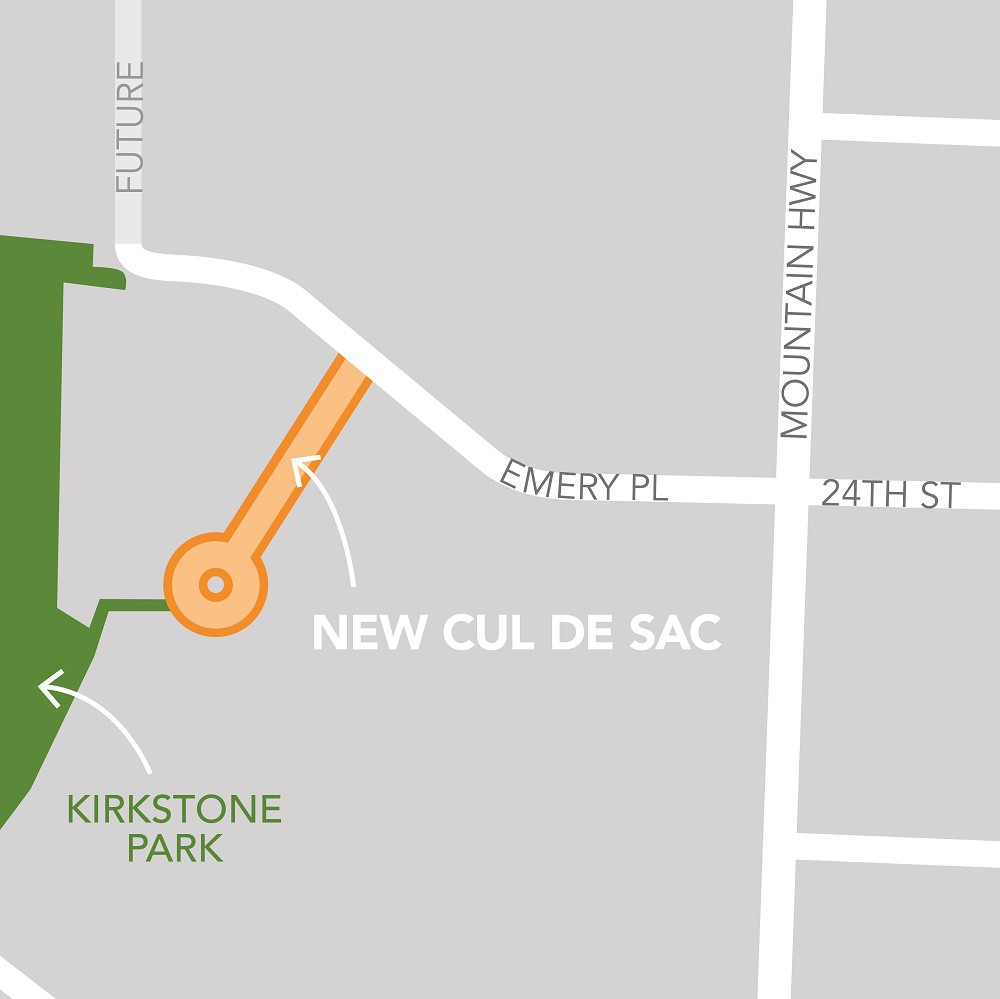 Location of new cul de sac proposed in Lynn Valley