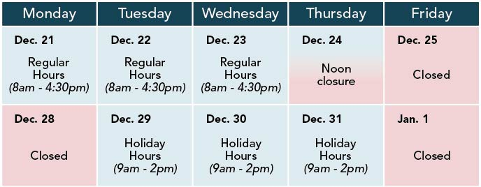 District Hall Holiday Hours Calendar