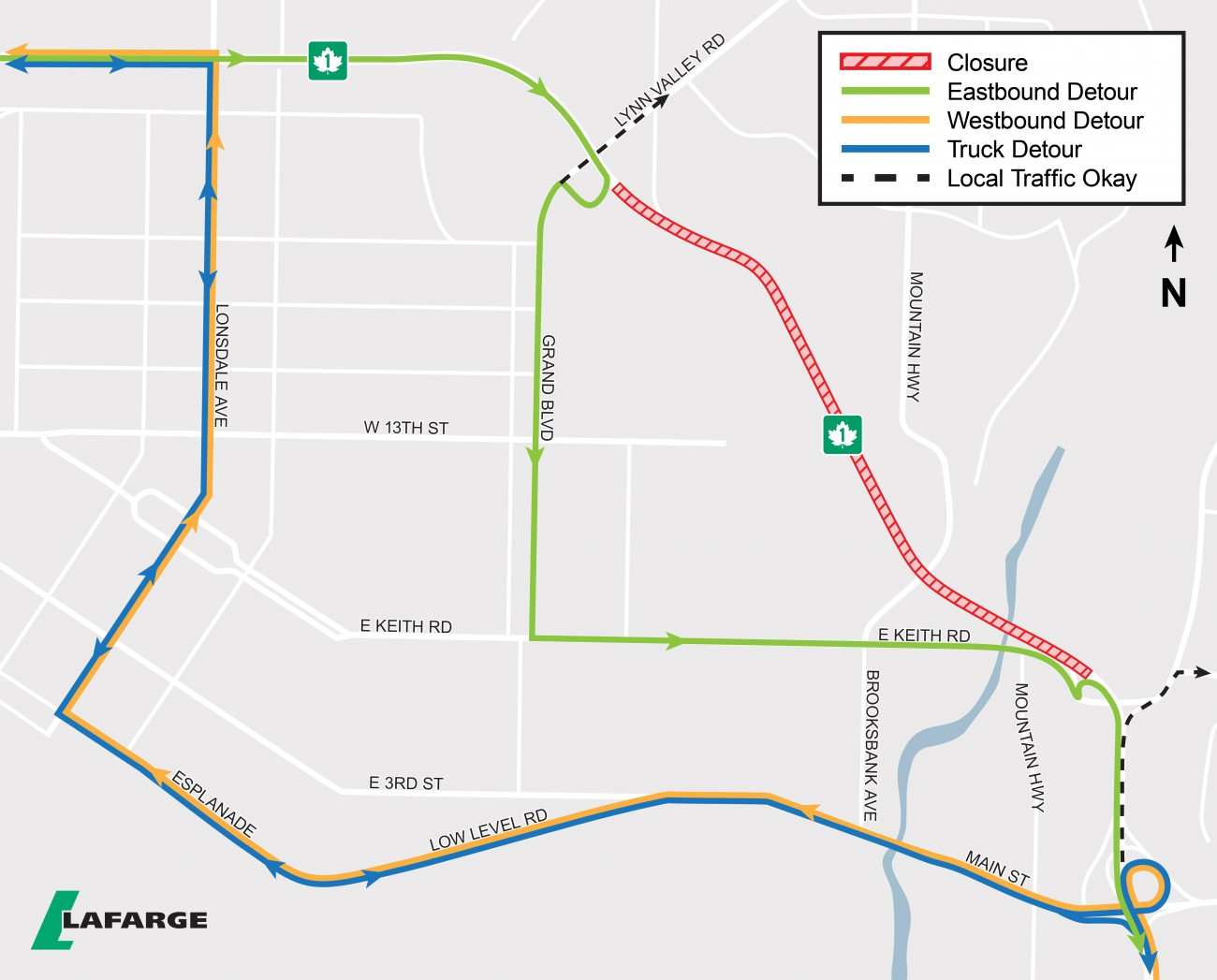 Map showing detour routes for Hwy closures in April and May, 2019