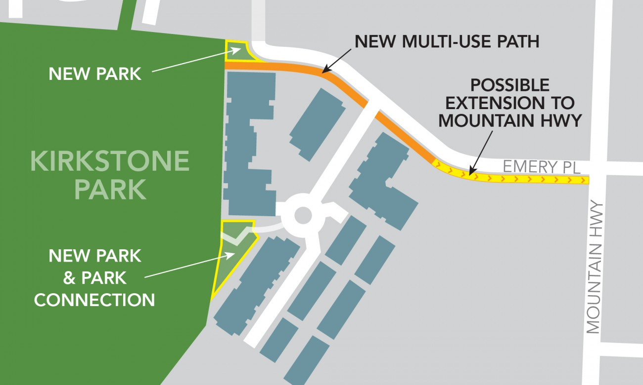 Map showing placement of new multi use path