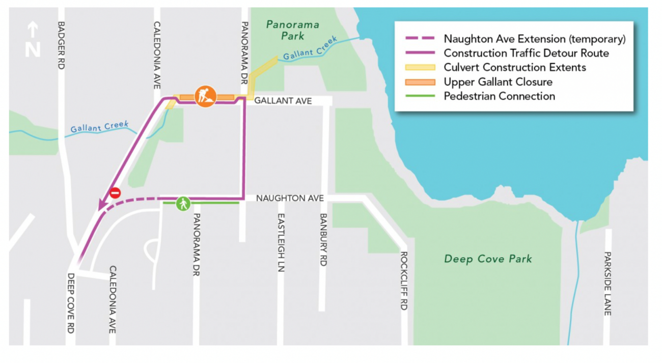A map of the temporary detour route on Naughton Avenue.