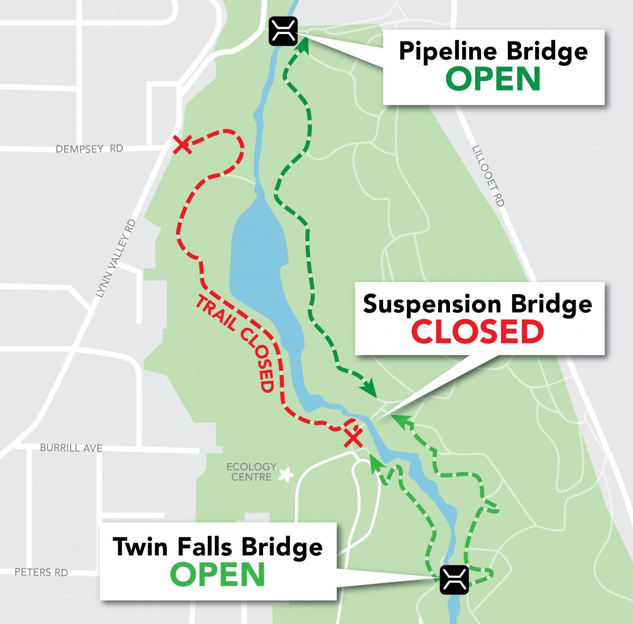 A map of the Lynn Canyon Boardwalk.
