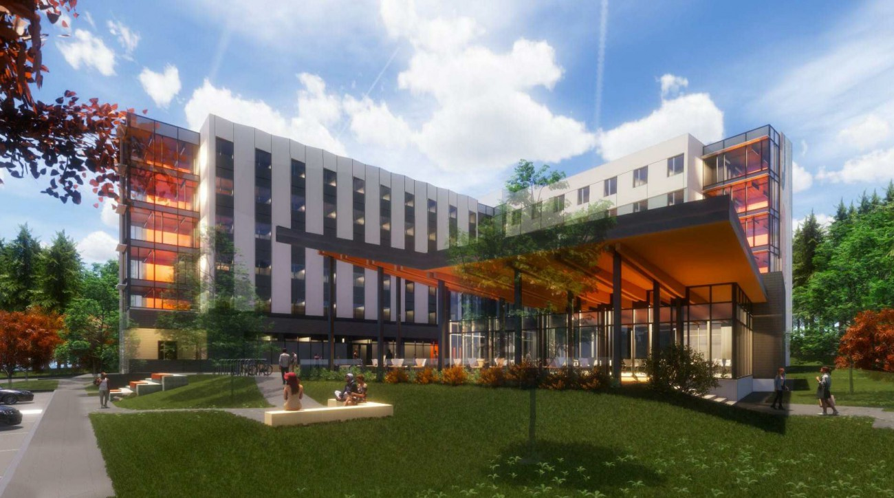 Rendering of  proposed student housing at Capilano University