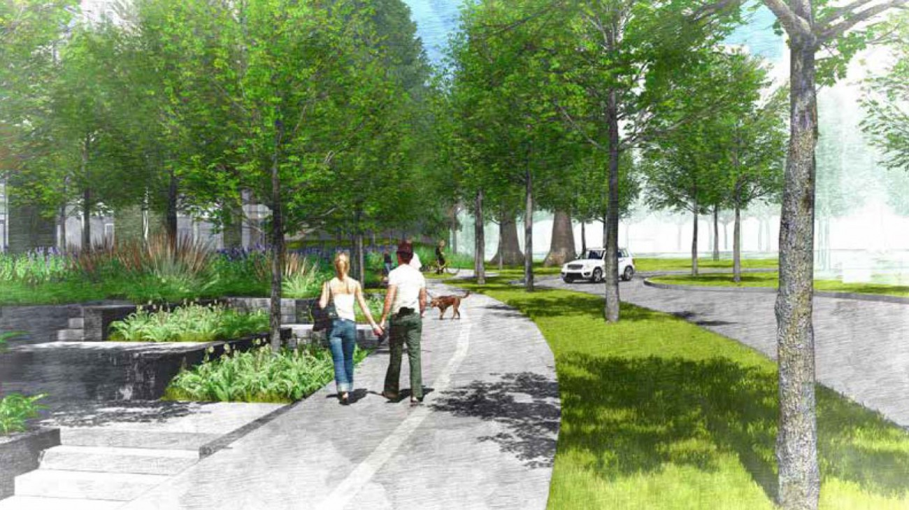 Illustration of a new multi-use path leading to Kirkstone Park