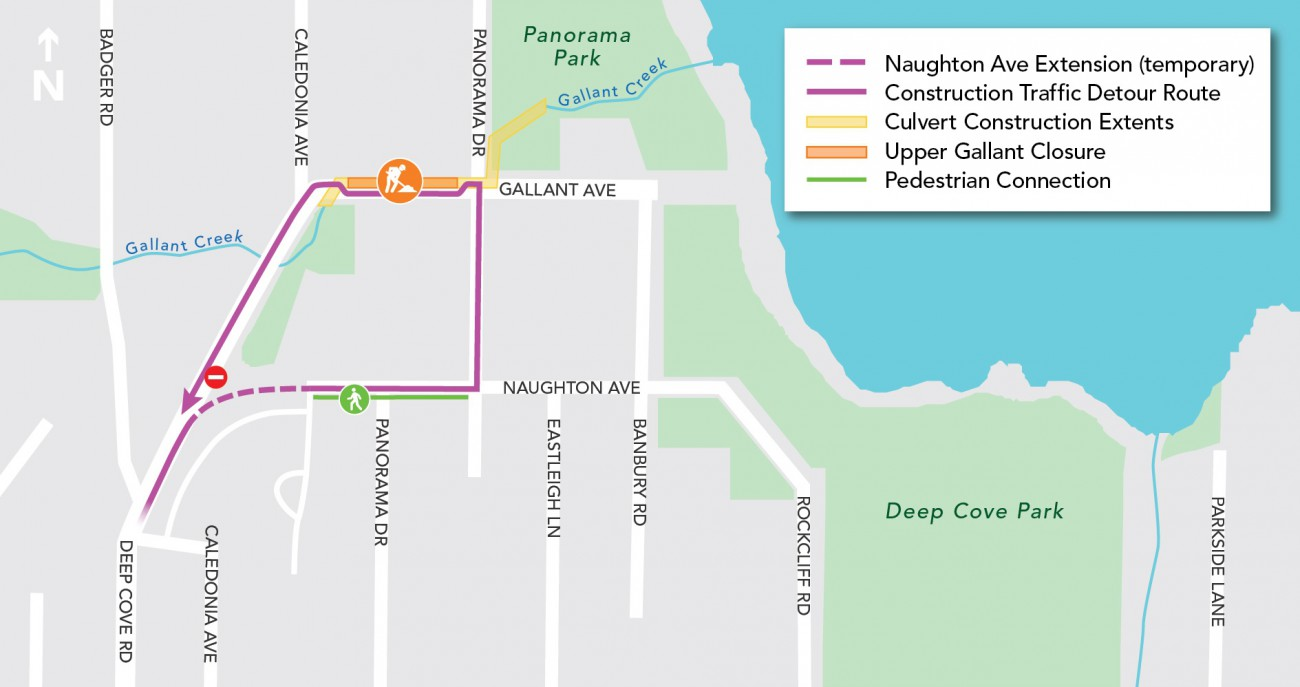 Map of construction detour route around Gallant Ave