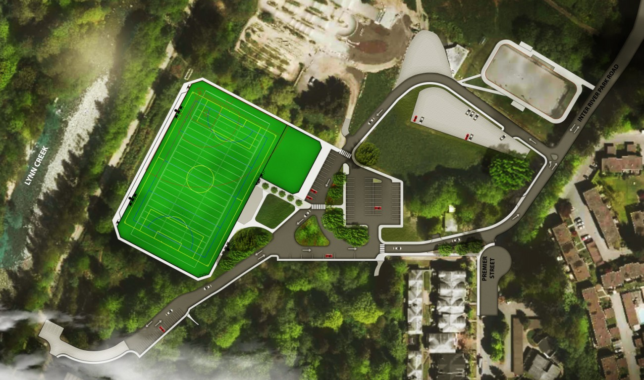 Rendering of new artificial turf field being built in Inter River Park