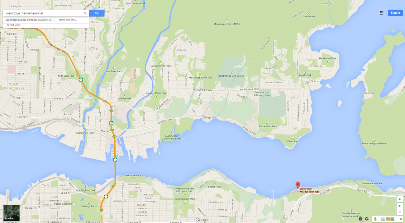 Map showing the location of the Westridge Marine Terminal