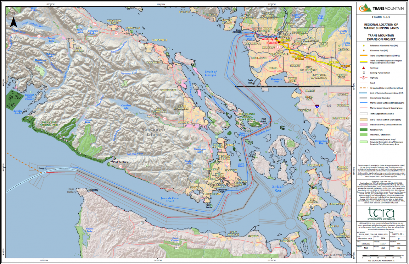 Map of shipping lanes for oil tankers leaving Burrard Inlet