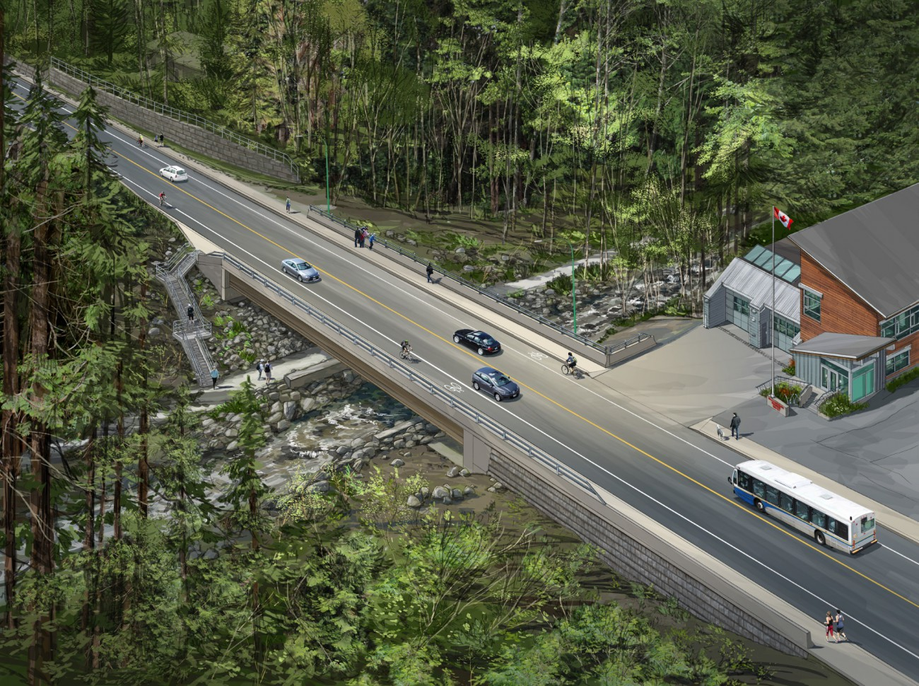 Rendering of new bridge on Montroyal