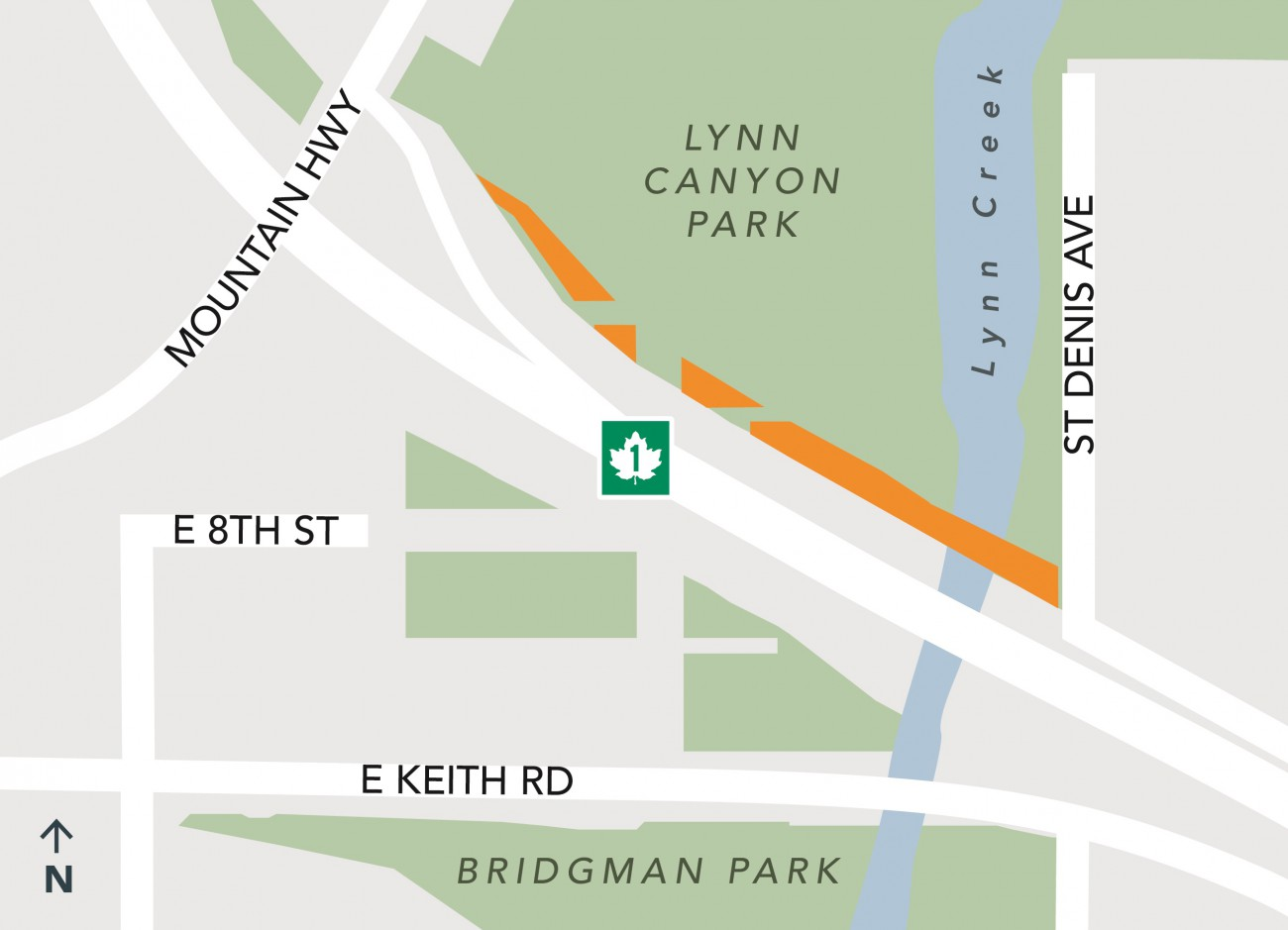 Map showing location of Lynn Park where land is being removed for Hwy 1