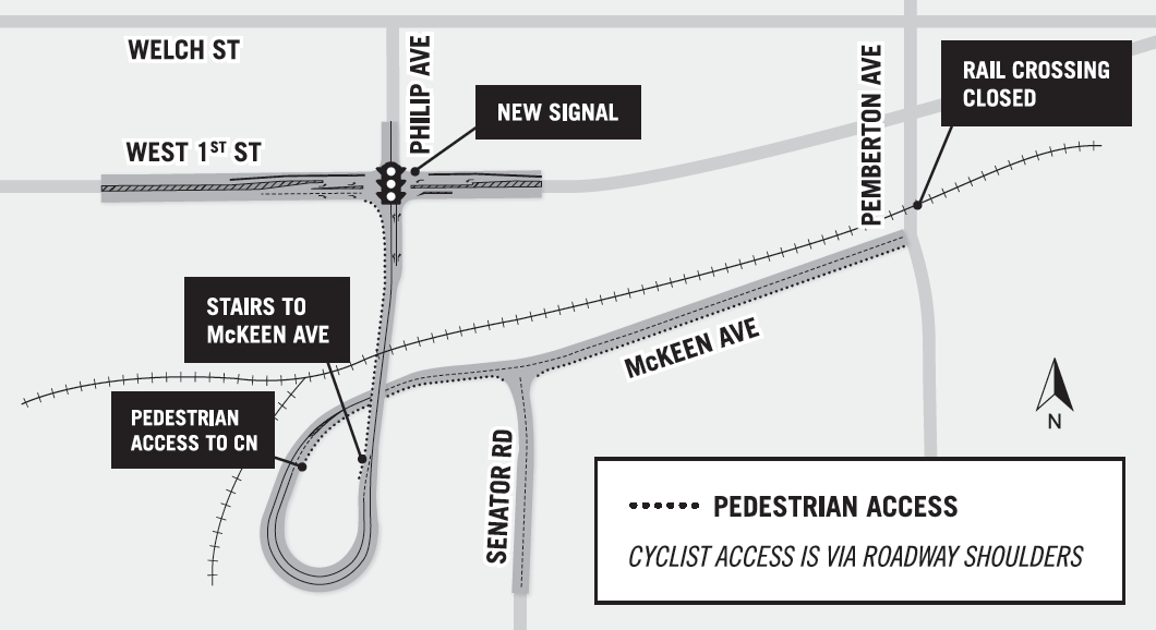 map of new philips avenue overpass with pedestrian access route