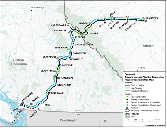 Map of the pipe line route between Edmonton and Burnaby