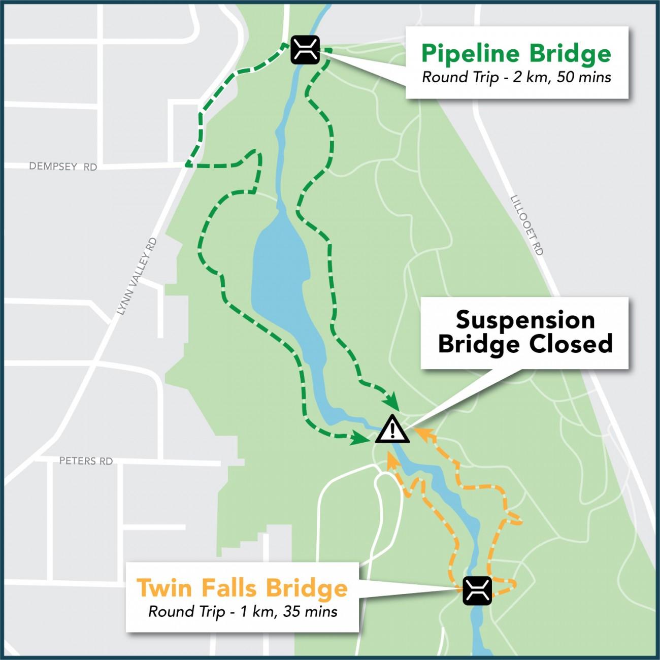 suspension bridge detour map