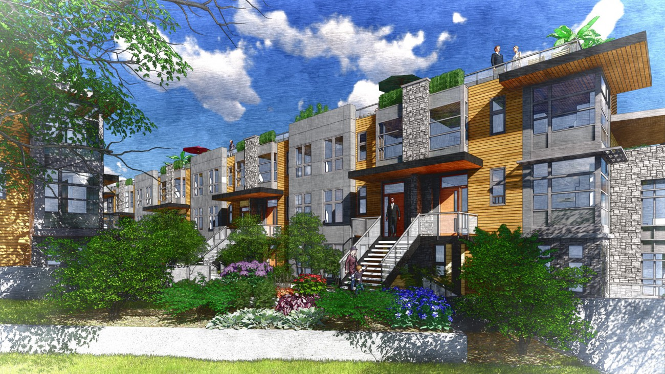 Rendering of proposed townhouse development at 1884 Belle Isle Place
