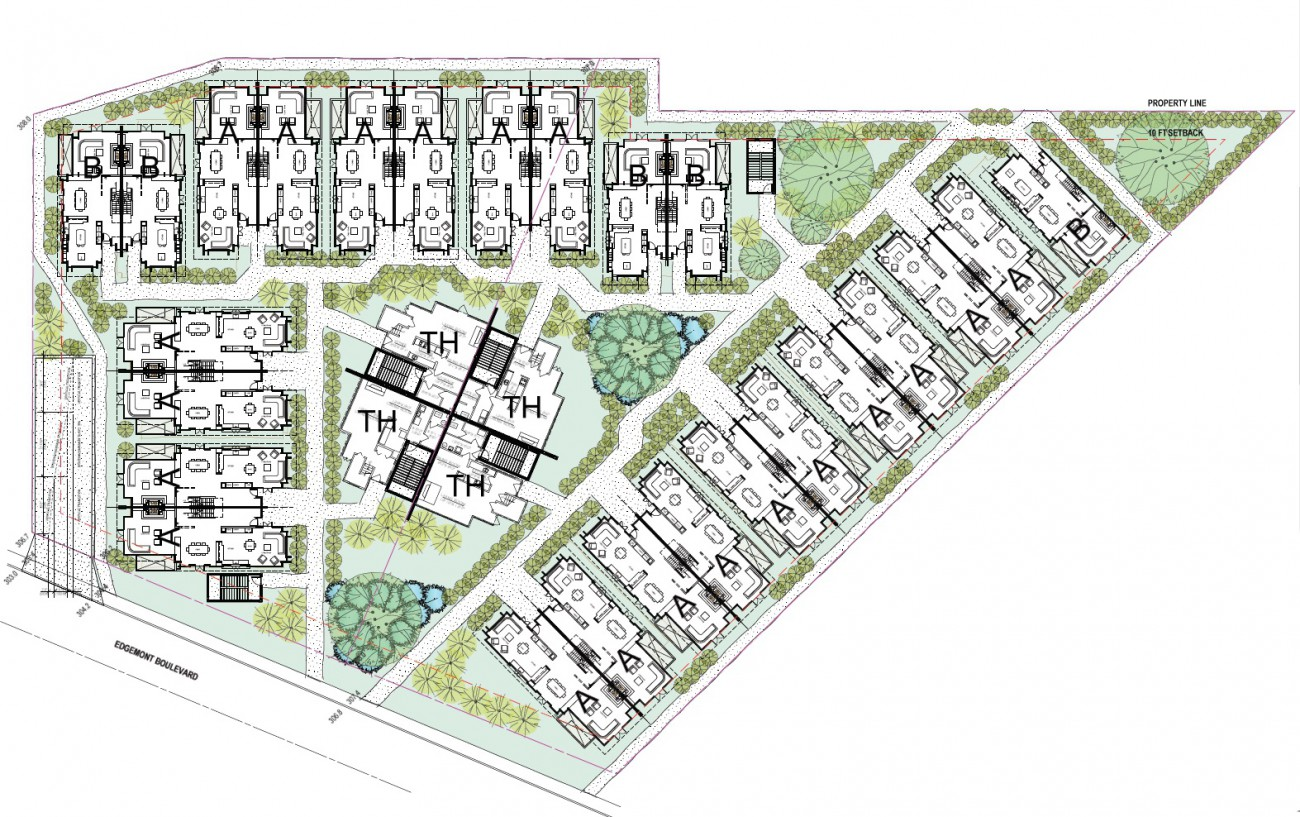 Rendering of proposed townhouse development at 3700 Edgemont Blvd