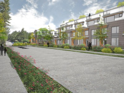 Rendering of a proposed townhouse development in Lions Gate Village