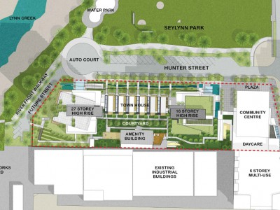 Site plan for proposed development at 1401 Hunter Street