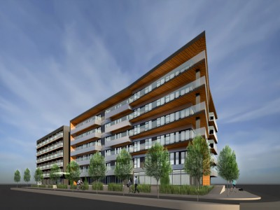 Render of a proposed development at 220 Mountain Hwy and 1515-1555 Rupert St