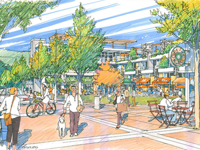 Rendering of Lions Gate Village high street
