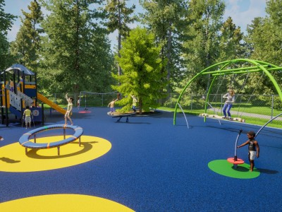 Kids play at a colourful playground.