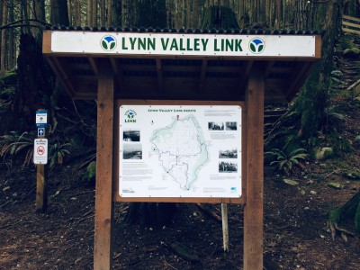 Information kiosk with trail map and local heritage facts (Fromme Mountain Kiosk)