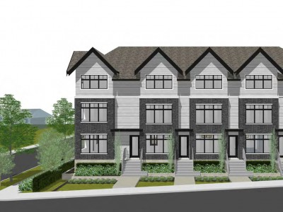 Rendering of proposed townhouse development at Glenaire Dr