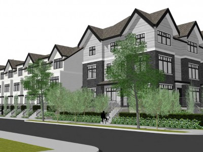 Rendering of proposed townhouse development on Glenaire Drive