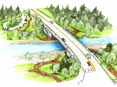 Artists rendering of the new Keith Road Bridge, looking west from Mountain Highway