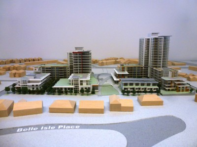 Model of LARCO development looking east from Belle Isle Place