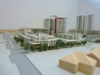 Model of LARCO development looking southeast from Fullterton Ave and Belle Isle Place