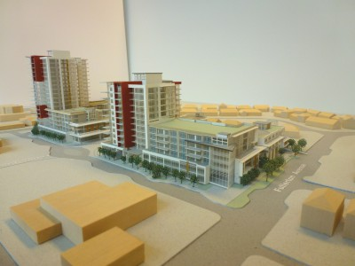 Model of LARCO development looking southwest from Capilano Rd and Fullerton Ave