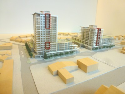 Model of LARCO development looking west from Capilano Rd