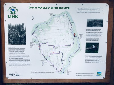 Information kiosk with trail map and local heritage facts (Lynn Canyon Park Kiosk)