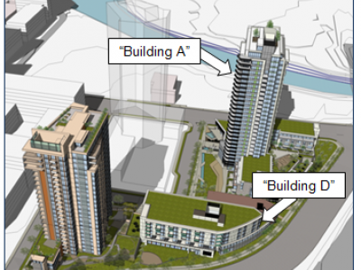 Illustration of location for buildings A and D of the Seylynn development