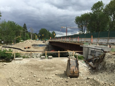Photo showing Lynn Creek with the old Keith Rd bridge removed