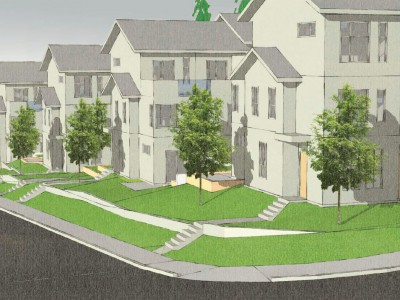 Rendering of proposed townhouse development at Mount Seymour Parkway and Gaspe Place