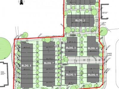 Site plan for development proposal at seymour and gaspe place