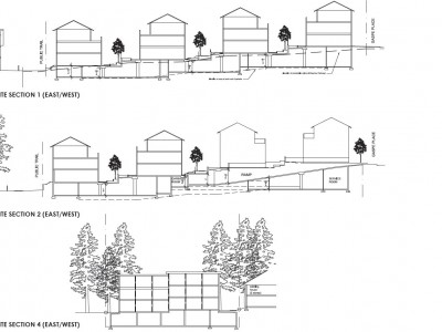 Illustration of site sections for new development at Gaspe Pl and Mount Seymour Pkwy
