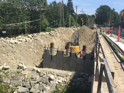 Keith road bridge construction: abutment walls