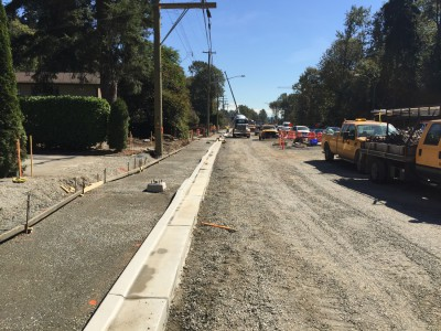 Pouring curbs and sidewalks for north side of Keith Rd at the new bridge