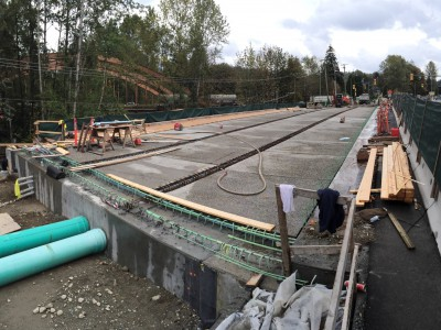Precast concrete deck panels installed on the new bridge girders