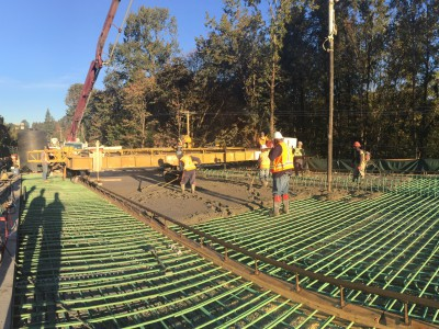 Pouring concrete deck for new Keith Road Bridge