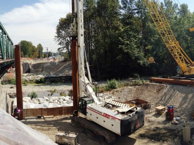 Shoring work being done on the new Keith Road bridge